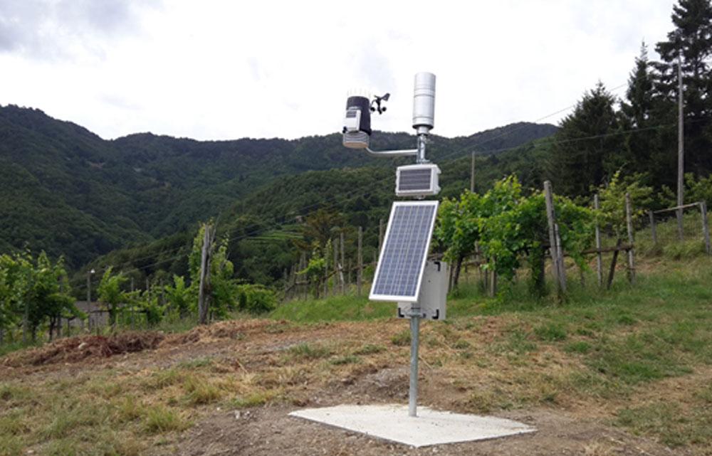 Impianto pluviometrico ridondato in Località Casali nel Comune di Borzonasca (515 m s.l.m), per il monitoraggio dei fenomeni in Alta Valle Sturla.